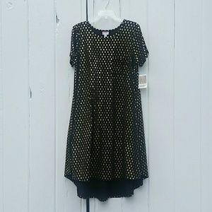 Lularoe Carly High Low Dress Black Gold Diamonds